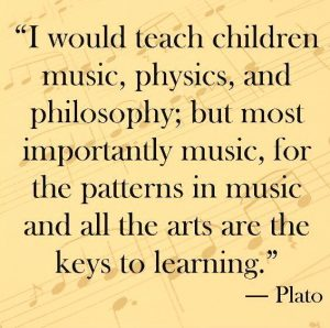 I would teach children music, physics, and philosophy; but most importantly music, for the patterns in music and all the arts are the keys to learning. -Plato