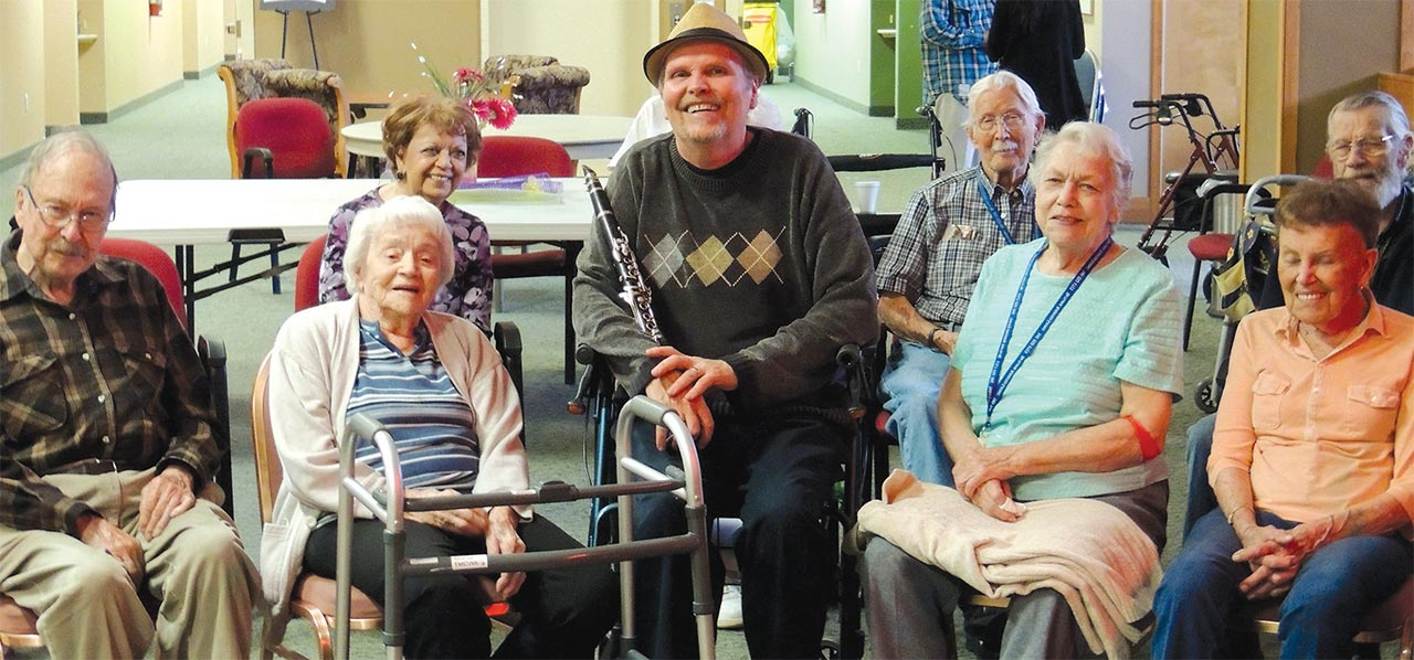 Dennis Freese entertains and educates at senior communities and memory care centers