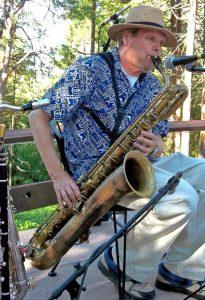 Dennis Freese playing baritone saxophone